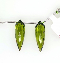 Hydro Peridot Drops Quartz Okra Shape 30x10mm Drilled Beads Matching Pair