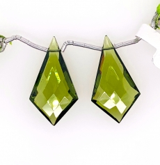 Hydro Peridot Drops Quartz Shield Shape 29x16mm Drilled Beads Matching Pair