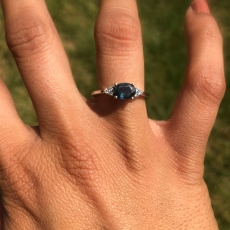 Indicolite Tourmaline 1.02 carat in Simple East West Diamond Ring in 14K White Gold
