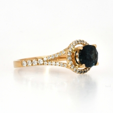 Indicolite Tourmaline 1.41 Carat in East West Halo Diamond Ring Setting in Yellow Gold