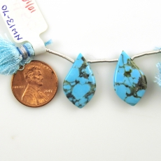 Kingman Turquoise Drops Leaf  Shape 22x13mm Drilled Beads Matching Pair