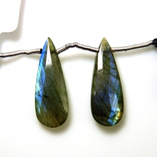 Labradorite Drops Almond Shape 24x9mm Drilled Beads Matching Pair
