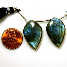 Labradorite Drops Almond Shape 27x17mm Drilled Beads Matching Pair