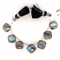 Labradorite Drops Cushion Shape 10x11mm Drilled Beads 7 Pieces