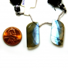 Labradorite Drops Fancy Shape 24x12mm Drilled Beads Matching Pair