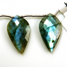 Labradorite Drops Leaf Shape 26x15mm Drilled Beads Matching Pair
