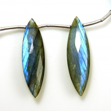Labradorite Drops Marquise Shape 31x9mm Drilled Beads Matching Pair
