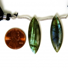 Labradorite Drops Marquise Shape 33x11mm Drilled Beads Matching Pair