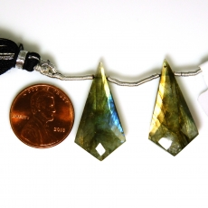 Labradorite Drops Shield Shape 28x15mm Drilled Beads Matching Pair