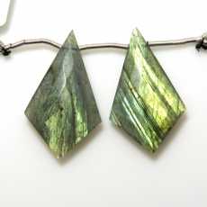 Labradorite Drops Shield Shape 32x19mm Drilled Beads Matching Pair