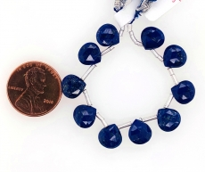 Lapis Drop Heart Shape 8x8mm Drilled Beads 10 Pieces