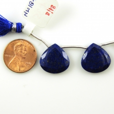 Lapis Drops Tear Shape 16x16mm Drilled Beads Matching Pair