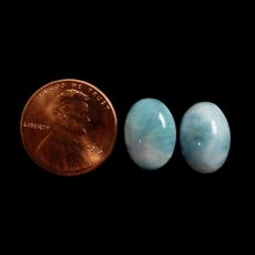 Larimar  Cabs Oval 14x10x4mm Matched Pair Approximately 10 Carat