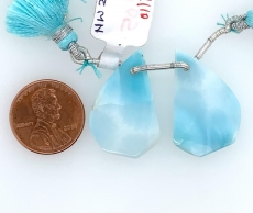 Larimar drop fancy 26x17mm Drilled Bead Matching Pair