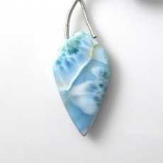 Larimar Drop Leaf Shape 35x18mm Drilled Bead Single Pendant Piece