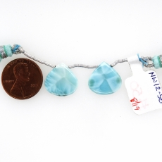 Larimar Drops Heart Shape 15mm Drilled Beads Matching Pair