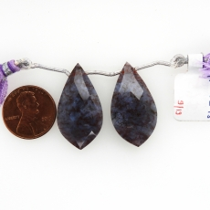 Lavender Moss Agate Drops Leaf Shape 30x16mm Drilled Beads Matching Pair