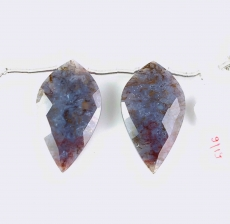 Lavender Moss Agate Drops Leaf Shape 30x17mm Drilled Beads Matching Pair