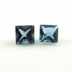 London Blue Topaz Princess Cut 8MM Matched Pair Approximately 5.35 Carat