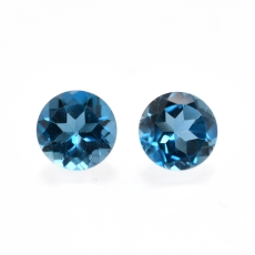 London Blue Topaz Round 6mm Matching Pair Approximately 2.05 Carat