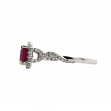 Madagascar Ruby Cushion 1.54 Carat Ring With Diamond Ring in 14K White Gold