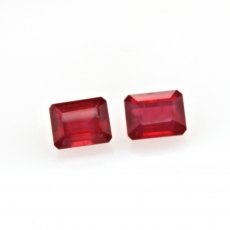 Madagascar Ruby Emerald Cushion 10x8mm Matching Pair Approximately 11.11 Carat