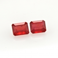 Madagascar Ruby Emerald Cushion 11x9mm Matching Pair Approximately 12.93 Carat