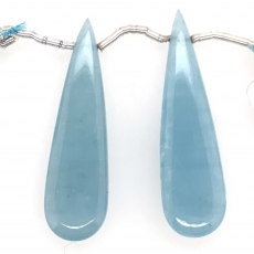 Milky Aquamarine Drop Almond Shape  41x10mm Drilled Bead Matching Pair
