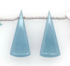 Milky Aquamarine Drop Conical Shape  27x11mm Drilled Bead Matching Pair