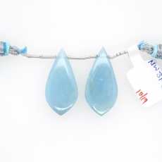 Milky Aquamarine Drop Leaf Shape 28x14mm Drilled Bead Matching Pair