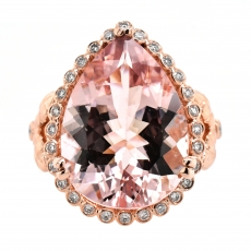 Morganite Pear 10.03 Carat Ring With Diamond Accent in 14K Rose Gold