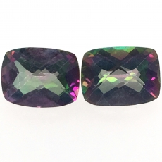 Mystic Topaz Emerald Cushion 9x7mm Approximately 5.78 Carat Matched Pair