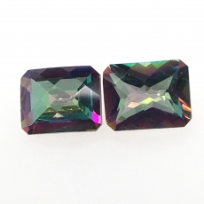 Mystic Topaz Emerald Cut 8x6mm Approximately 4 Carat Matched Pair