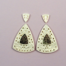 New Arrival!!! Carved Mother Of Pearl With Black Mother Of Pearl Inlay 63.75 Carat Conical Shape 13x10x2mm  &  42x31x2mm