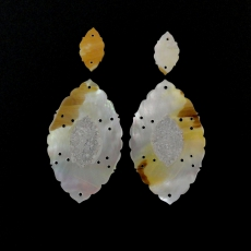 New Arrival!!! Carved Mother Of Pearl With Lapis Inlay 79.20 Carat Marquise Shape 18x10x2mm  &  50x30x2mm
