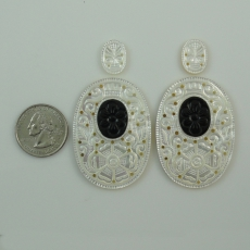 New Arrival!!! Carved Mother Of Pearl With Onyx Inlay 102.70 Carat Oval 15x11x2mm  &  50x35x3mm
