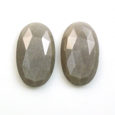 New! Rose Cut Grey Moonstone Oval 21.5x18x6.5mm Matched Pair
