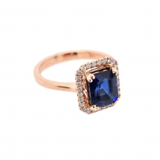 Nigerian Blue Sapphire Emerald Cut 3.44 Carat Ring With Diamond Accent in 14K Rose Gold