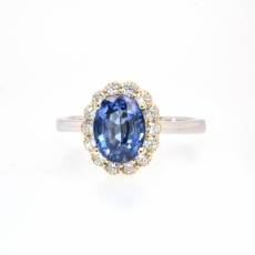 Nigerian Blue Sapphire Oval 1.95 Carat With Accented Diamond Floral Halo Ring In 14K Dual Tone ( Yellow/ White ) Gold