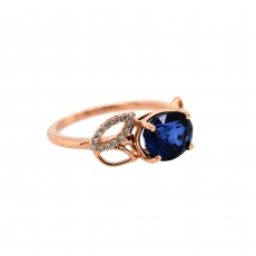 Nigerian Blue Sapphire Oval 2.59 Carat With Diamond Accent in 14K Rose Gold