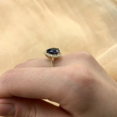 Nigerian Blue Sapphire Pear Shape 2.44 Carat With Accent Diamond in 14K Yellow Gold