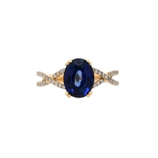Nigerian Sapphire Oval 2.94 Carat Ring With Diamond Accent in 14K Yellow Gold