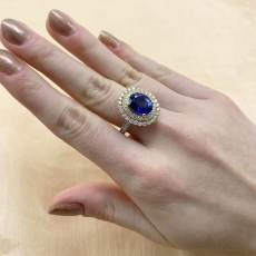 Nigerian Sapphire Oval 3.75 Carat Ring With Diamond Accent in 14K White Gold