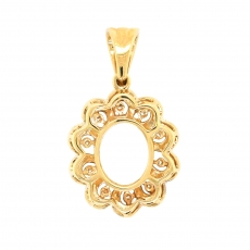Oval 10x8mm Pendant Semi Mount in 14K Yellow Gold with White Diamonds