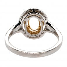 Oval 10x8mm Ring Semi Mount In 14K Gold With White Diamonds