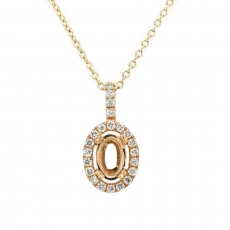 Oval 4x6mm Pendant Semi Mount in 14K Yellow Gold in Diamond Accents