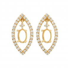 Oval 6x4mm Earring Semi Mount in 14K Yellow Gold with White Diamonds (ESHO016)
