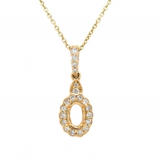 Oval 6X4mm Pendant Semi Mount in 14K Yellow Gold in Diamond Accents (PSO330)