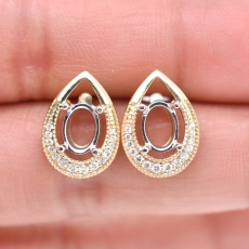 Oval 7x5mm Earring Semi Mount in 14K Dual Tone (Yellow/White) Gold With White Diamonds