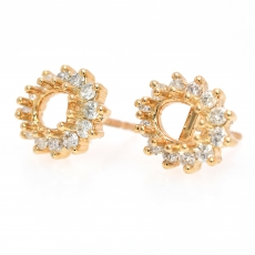 Oval 7x5mm Earring Semi Mount in 14K Yellow Gold With White Diamonds